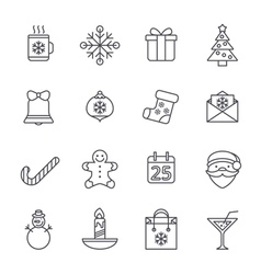 Line christmas icons for web and applications vector