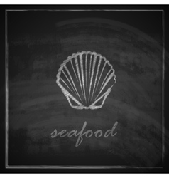 Vintage with a clam on blackboard background vector