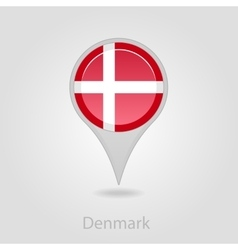 Denmark flag pin map icon vector
