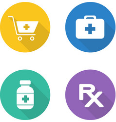 Pharmacy flat design icons set vector
