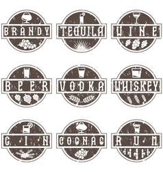 Vintage grunge labels set of alcohol drinks vector