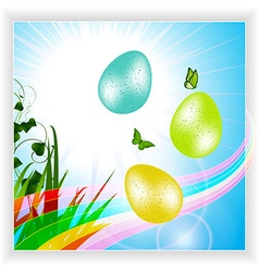 Easter panel with eggs and rainbow vector