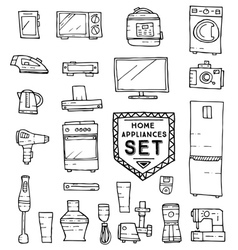 Home appliances doodle set vector image