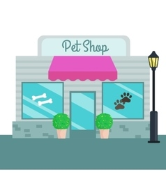 Pet shops and stores front flat style vector