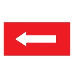 Arrow sign white icon in red rectangle vector