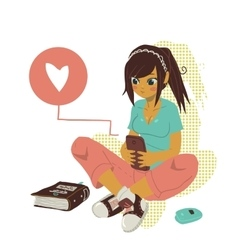 Girl writing text message on smartphone vector