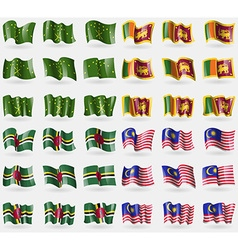 Adygea sri lanka dominica malaysia set of 36 flags vector