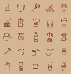 Barista line color icon on brown background vector