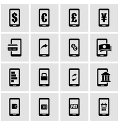 black mobile banking icon set vector image vector image