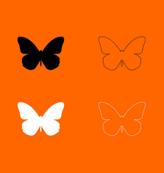 butterfly black and white set icon vector image vector image