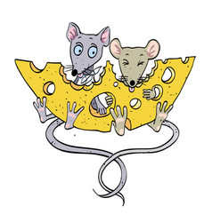 cartoon image of mice with cheese vector image