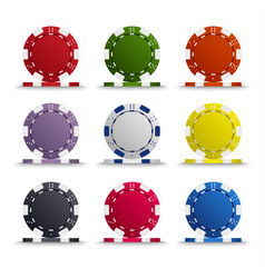 Collection of colored poker chips template vector