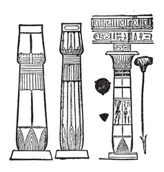 Egypt types of columns vintage engraving vector