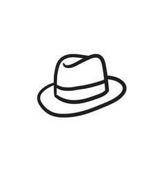 Fedora hat sketch icon vector