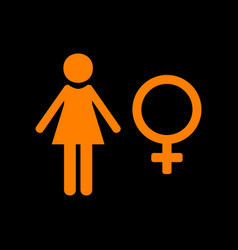 Female sign orange icon on black vector
