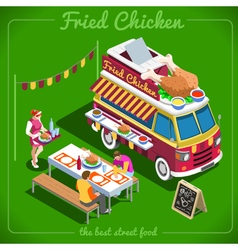 Food truck 10 isometric vehicles vector