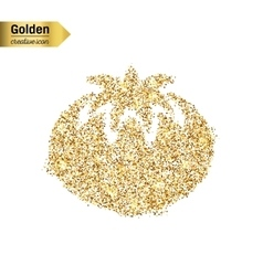 Gold glitter icon of tomato isolated on vector