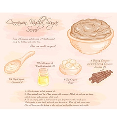 Hand drawn of cinnamon vanilla sugar scrub recipe vector