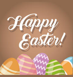 happy easter card cute egg decorative vector image