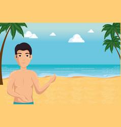 happy man in summer beach vacation design vector image