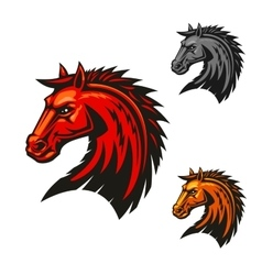 Horse stallion head emblem icons vector