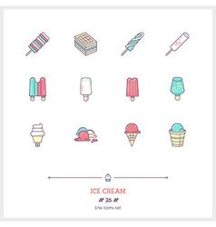 Ice cream line icons set vector