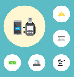 Icons flat style contactless transaction dollar vector