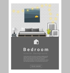 Interior design Modern bedroom banner 1 vector image vector image