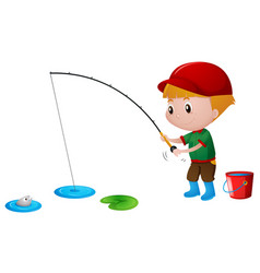 little boy fishing in the pond vector image