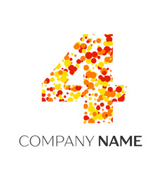 Number four with orange yellow red particles vector