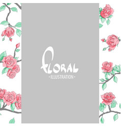 Red delicate roses on a gray background vector