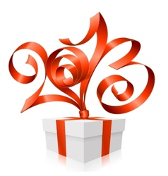 red ribbon in the shape of 2013 vector image
