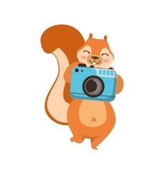 Red squirrel taking picture with photo camera vector