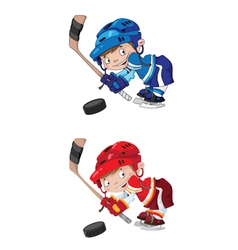 set funny boy hockey vector image vector image