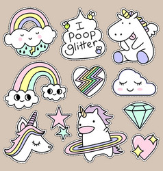 Set of decorative fashion patches badges or pins vector