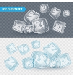 Set of four transparent ice cubes vector image