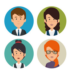 Set of profesional business people faces vector