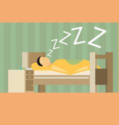 Sleeping man flat vector