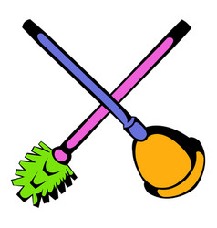 Toilet plunger and brush icon icon cartoon vector