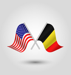 two crossed american and belgian flags vector image vector image