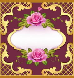 Vintage frame background with roses and golden vector