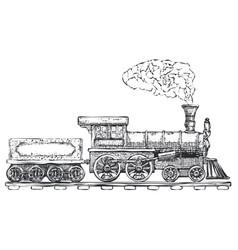 vintage steam locomotive logo design template vector image