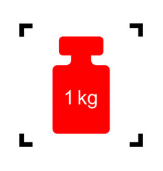 Weight simple sign red icon inside black vector