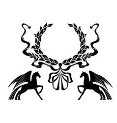Winged horses with laurel wreath vector image