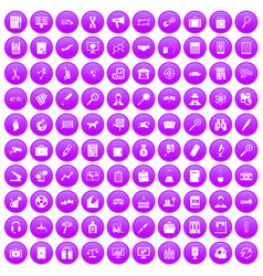 100 magnifier icons set purple vector
