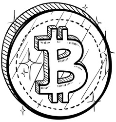 Doodle currency coin bitcoin vector