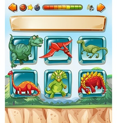Computer game template with dinosaurs background vector