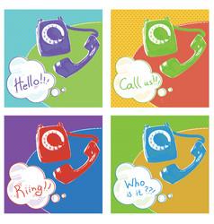 Retro telephone pop art color vector