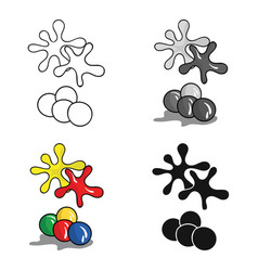 balls for paintball icon in cartoon style isolated vector image