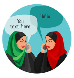 arabian women making conversation over phones with vector image